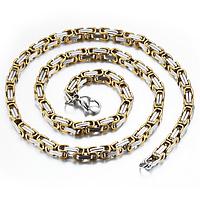 """Цепочка мужская """"Steel Rage"""", цвет gold+silver 55 см"""