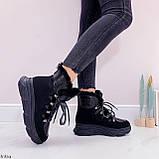 Женские ботинки ЗИМА черные на шнуровке эко кожа + замш, фото 2