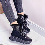 Женские ботинки ЗИМА черные на шнуровке эко кожа + замш, фото 4
