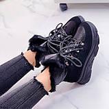 Женские ботинки ЗИМА черные на шнуровке эко кожа + замш, фото 5