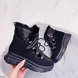 Женские ботинки ЗИМА черные на шнуровке эко кожа + замш, фото 6
