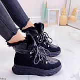 Женские ботинки ЗИМА черные на шнуровке эко кожа + замш, фото 8