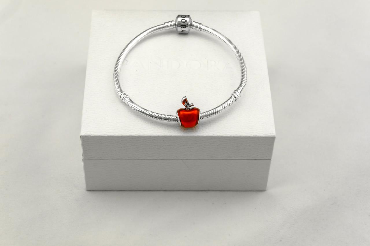 Бусина шарм яблоко подвеска для браслета Pandora Пандора серебряная