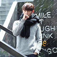 Чоловічий теплий шарф - Чорний, фото 4