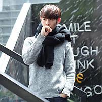 Мужской теплый шарф - Черный, фото 4
