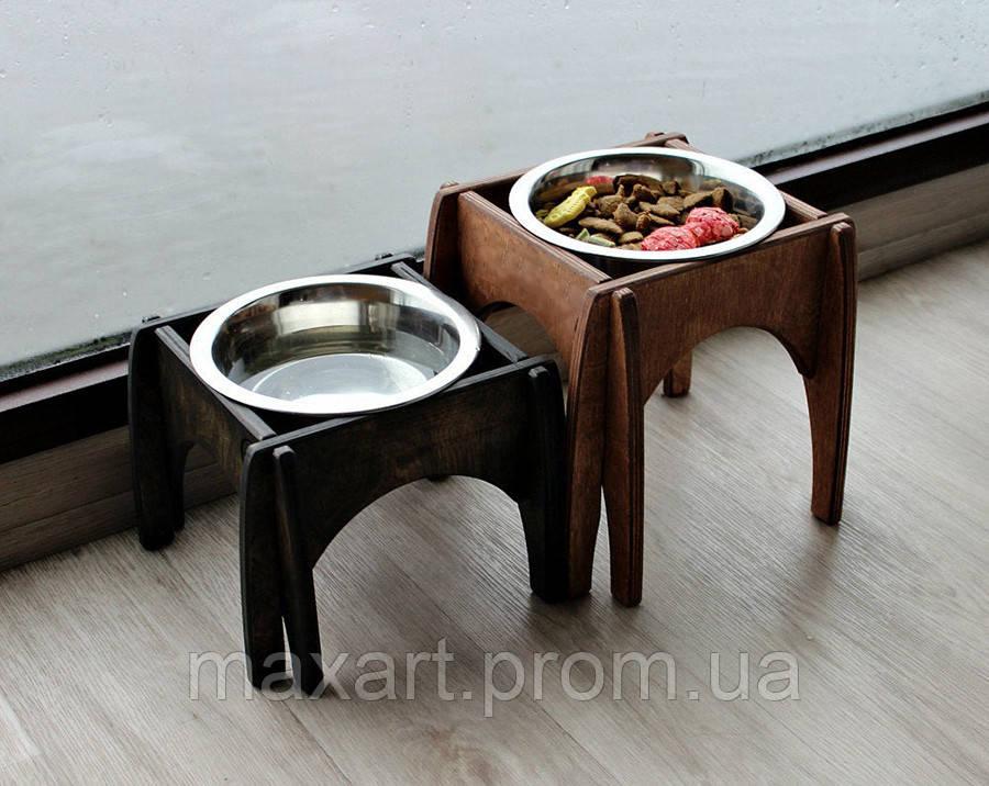 КІТ-ПЕС by smartwood Мискa на подставке | Миска-кормушка металлическая для собак щенков - 1 миска 750 мл