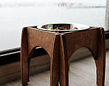 КІТ-ПЕС by smartwood Мискa на подставке | Миска-кормушка металлическая для собак щенков - 1 миска 750 мл, фото 2
