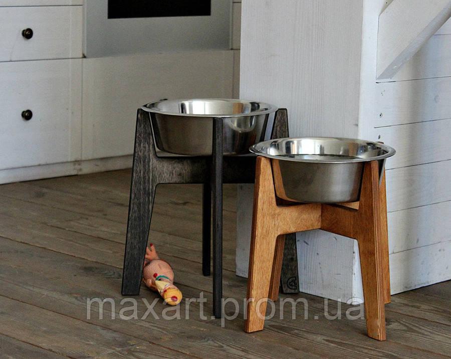 КІТ-ПЕС by smartwood Мискa на подставке | Миска-кормушка металлическая для собак щенков - 1 миска 2800 мл