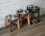 КІТ-ПЕС by smartwood Мискa на подставке | Миска-кормушка металлическая для собак щенков - 1 миска 2800 мл, фото 3