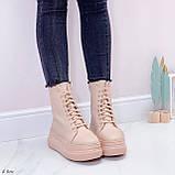 Женские ботинки спортивные ЗИМА бежевые на платформе эко-кожа, фото 3