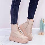 Жіночі черевики ЗИМА бежев - пудрові еко замш, фото 5