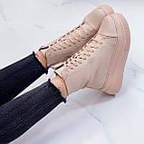Жіночі черевики ЗИМА бежев - пудрові еко замш, фото 4
