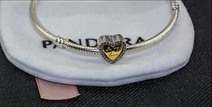 Подвеска шарм Сердце серебряная бусина для браслета Pandora Пандора серебро
