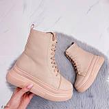 Жіночі черевики ЗИМА бежев - пудрові еко замш, фото 7