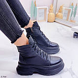 Женские ботинки ЗИМА черные на шнуровке натуральная кожа, фото 5
