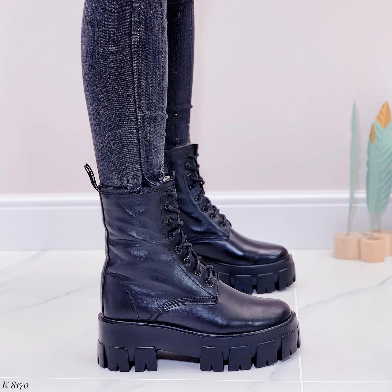 Женские ботинки ЗИМА черные на шнуровке натуральная кожа