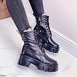 Женские ботинки ЗИМА черные на шнуровке натуральная кожа, фото 7