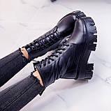 Женские ботинки ЗИМА черные на шнуровке натуральная кожа, фото 3