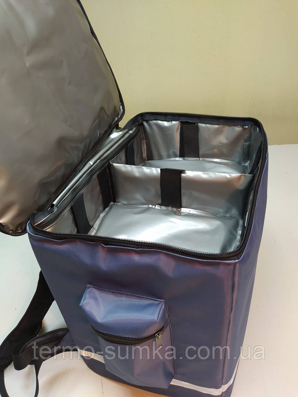 Терморюкзак. Термосумка для суши с перегородками: вертикаль + горизонталь, карманом для терминала. Серая