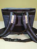 Терморюкзак. Термосумка для суши с перегородками: вертикаль + горизонталь, карманом для терминала. Серая, фото 4