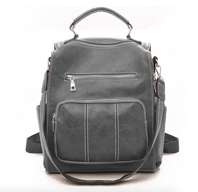 Рюкзак женский кожаный молодежный Practical Серый