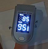 ПУЛЬСОКСИМЕТР электронный датчик пульса кислорода в крови медицинский на палец пульсометр оксометр, фото 4