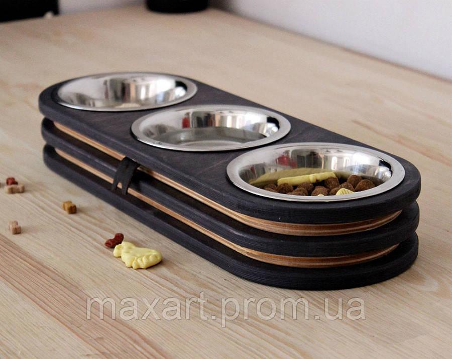 КІТ-ПЕС by smartwood Миски на подставке | Миска-кормушка металлическая для кошек котов котят  XS - 3 миски