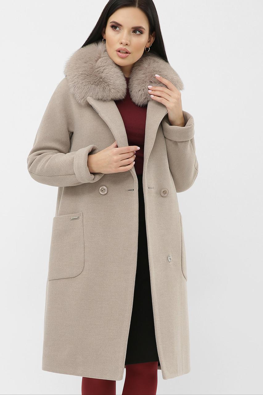 Пальто женское зимнее с меховым воротником