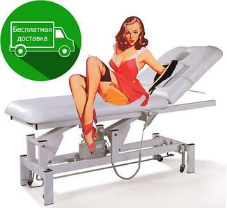 Масажний стіл кушетка на электромотре білого кольору DM-268A з отвором для обличчя