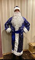 Новогодний костюм Деда Мороза синийПринт Снежинка , новогодние костюмы взрослые, фото 1