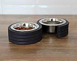 КІТ-ПЕС by smartwood Миски на подставке   Миска-кормушка металлическая для кошек котов котят  XS - 2 миски, фото 3