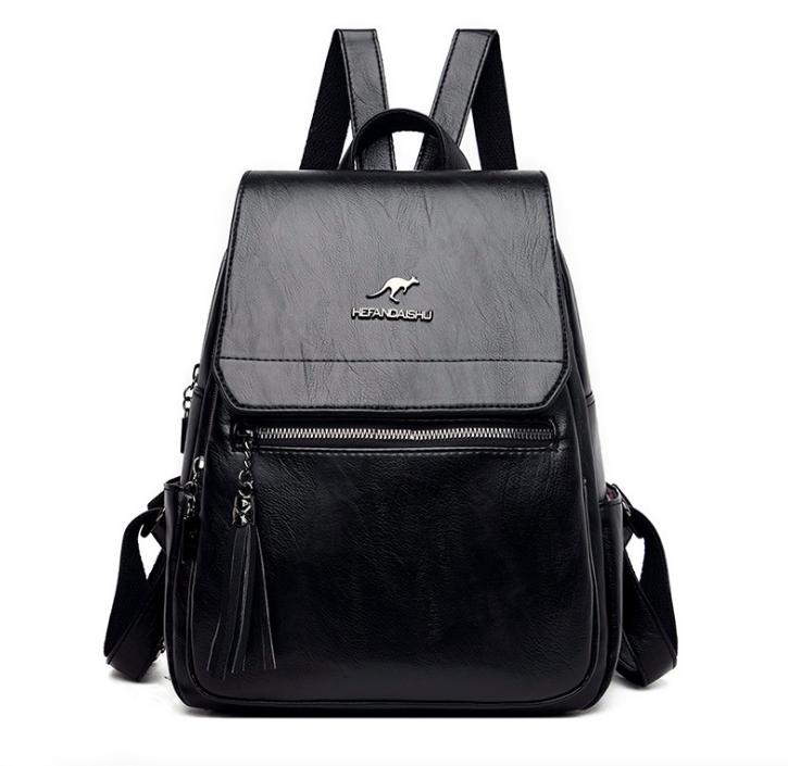 Рюкзак женский кожаный Hefan Daishu Backpack Черный