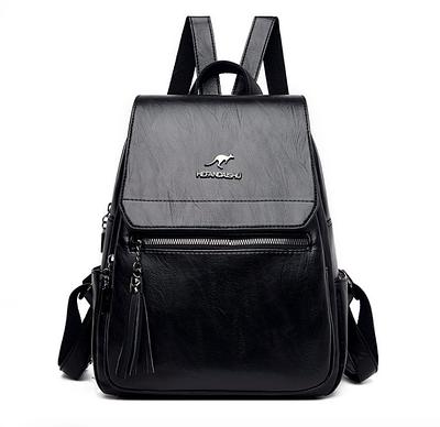 Рюкзак жіночий шкіряний Hefan Daishu Backpack Чорний