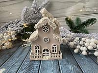 Новогодний декор домик 16 см пудровый персик, фото 1