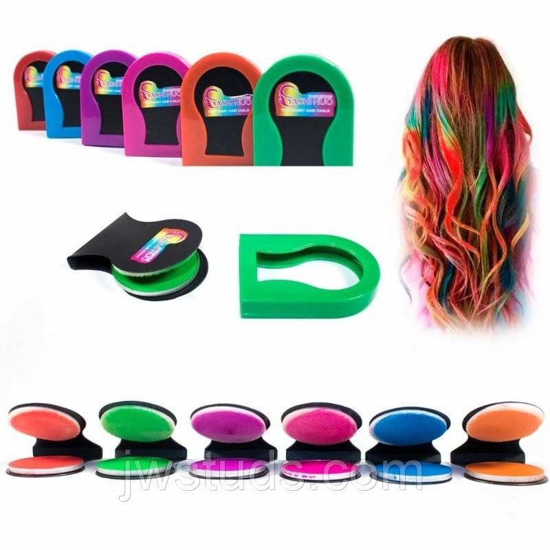 Мелки для волос: они безопасны и легко смываются водой! поштучно - цвет СИНИЙ