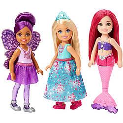Barbie Набор Barbie Челси 3 куклы в одном наборе Принцесса, Фея и Русалка. Mattel FPL86