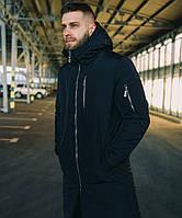 Мужская удлиненная куртка парка черная с капюшоном холофайбер