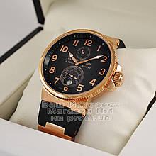 Ulysse Nardin Maxi Marine Chronometer 266-66-3/62 копия arabic numerals Black Gold механика Улис Нардин