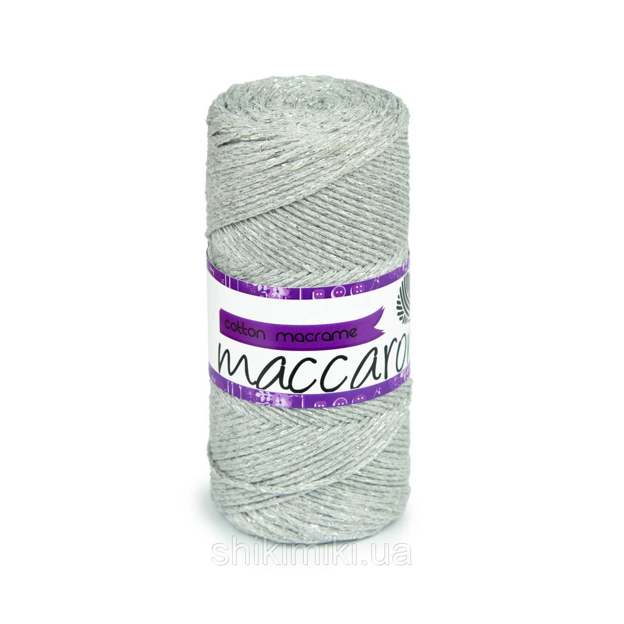 Cotton Macrame Maccaroni Star, цвет светло серый с серебряным глиттером