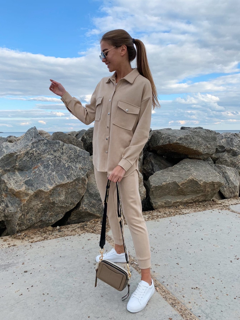 Женский  повседневный костюм . Размеры 42-44,46-48 Цвета: беж, серый, электрик