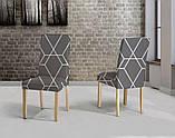 Универсальные натяжные чехлы накидки на стулья со спинкой для кухни турецкие без юбки Черные с вензелями, фото 4