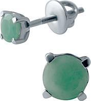 Серебряные серьги SilverBreeze с натуральным изумрудом (2043553), фото 1