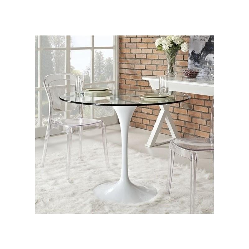 Стіл Тюльпан G, скляний, діаметр 80 см, білий, не розкладний