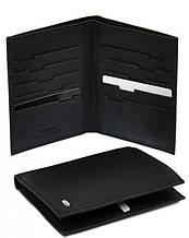 Классический мужской кошелек из натуральной кожи без застежки dr.Bond MS-10 black (черный)