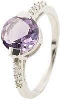 Серебряное кольцо SilverBreeze с натуральным аметистом (0514963) 17 размер
