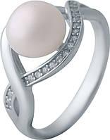 Серебряное кольцо SilverBreeze с натуральным жемчугом (2035510) 16 размер, фото 1