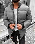 Пуховик - Мужская куртка из экокожы зимняя серая, фото 2