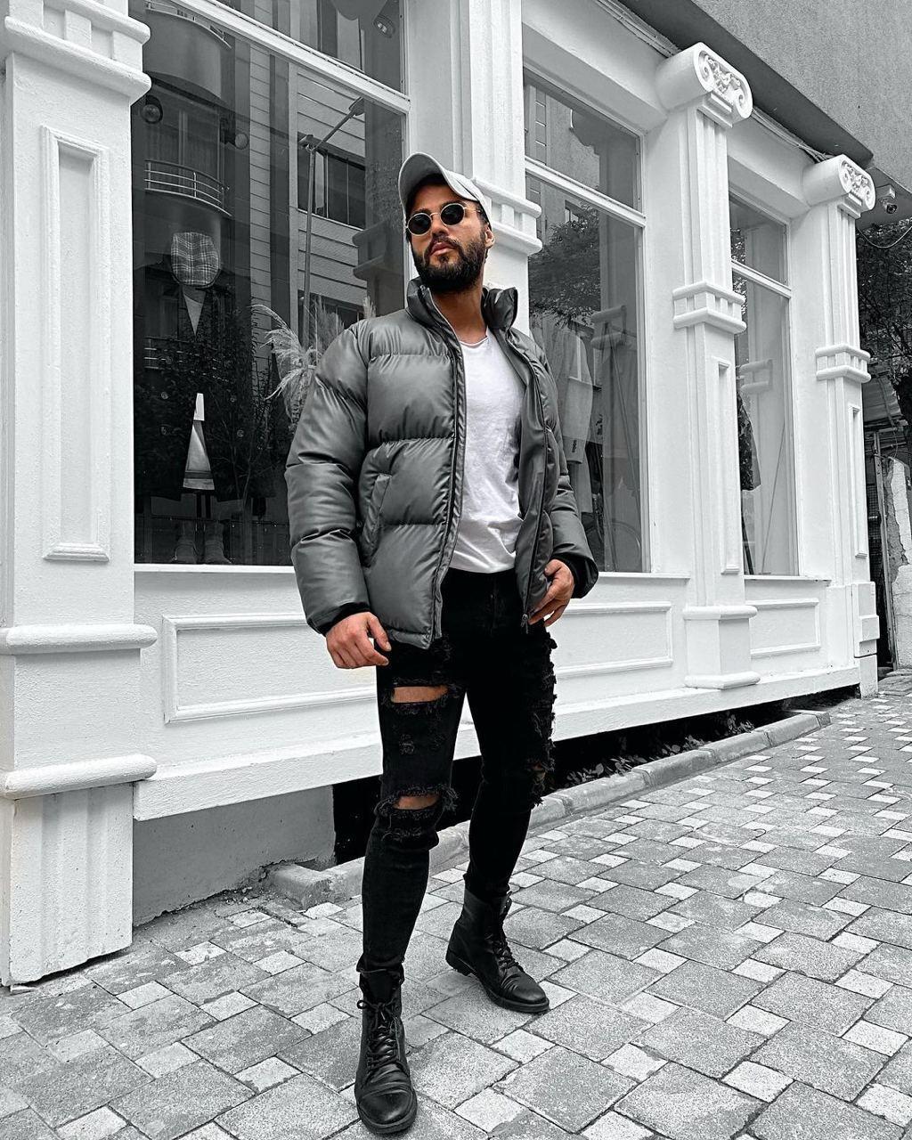 Пуховик - Мужская куртка из экокожы зимняя серая