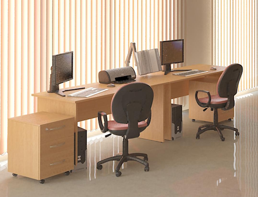 Стол офисный с тумбой «Лайт»
