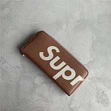 Большой кошелек на молнии лого Supr / натуральная кожа (10238) Коричневый